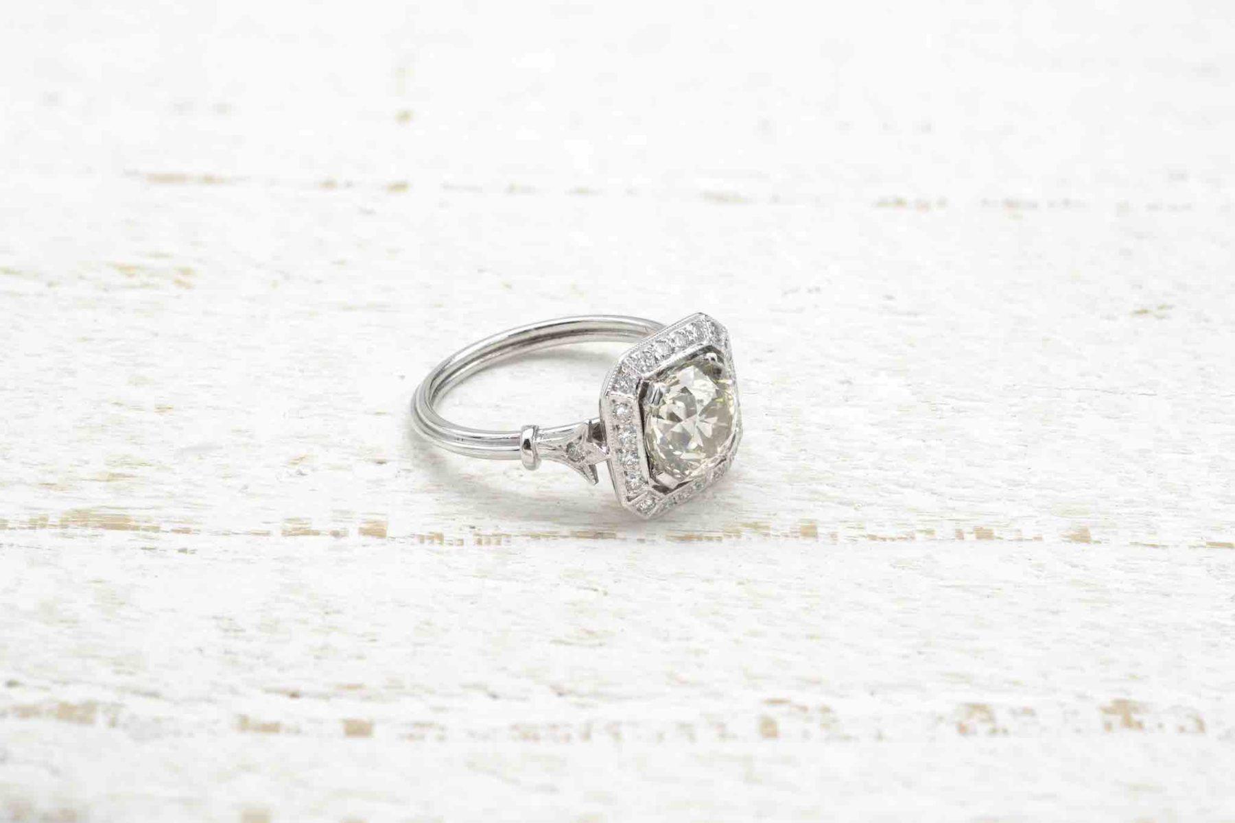 Bague diamant en platine