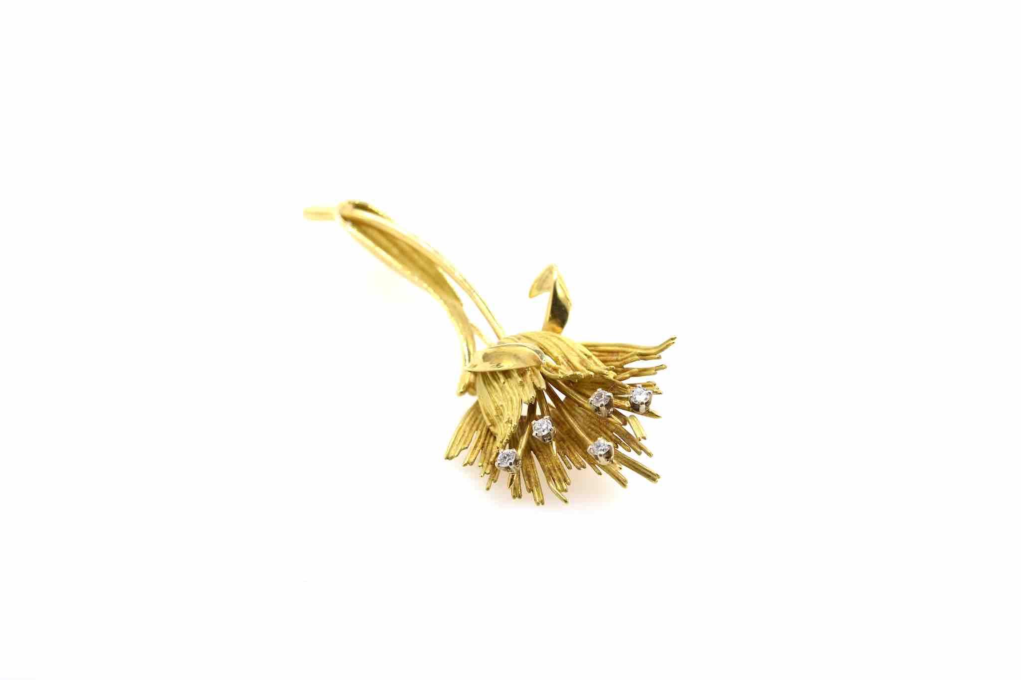 broche fleur 1970 diamants et or jaune 18k