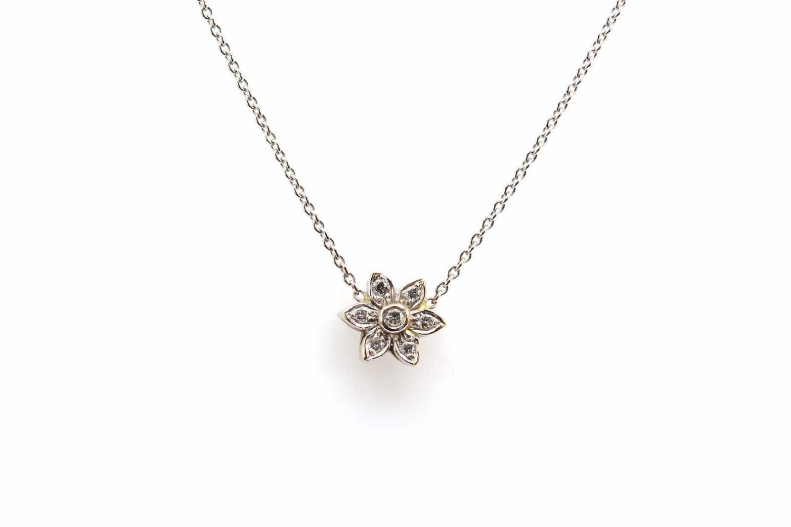 pendentif fleur diamants or blanc 18k