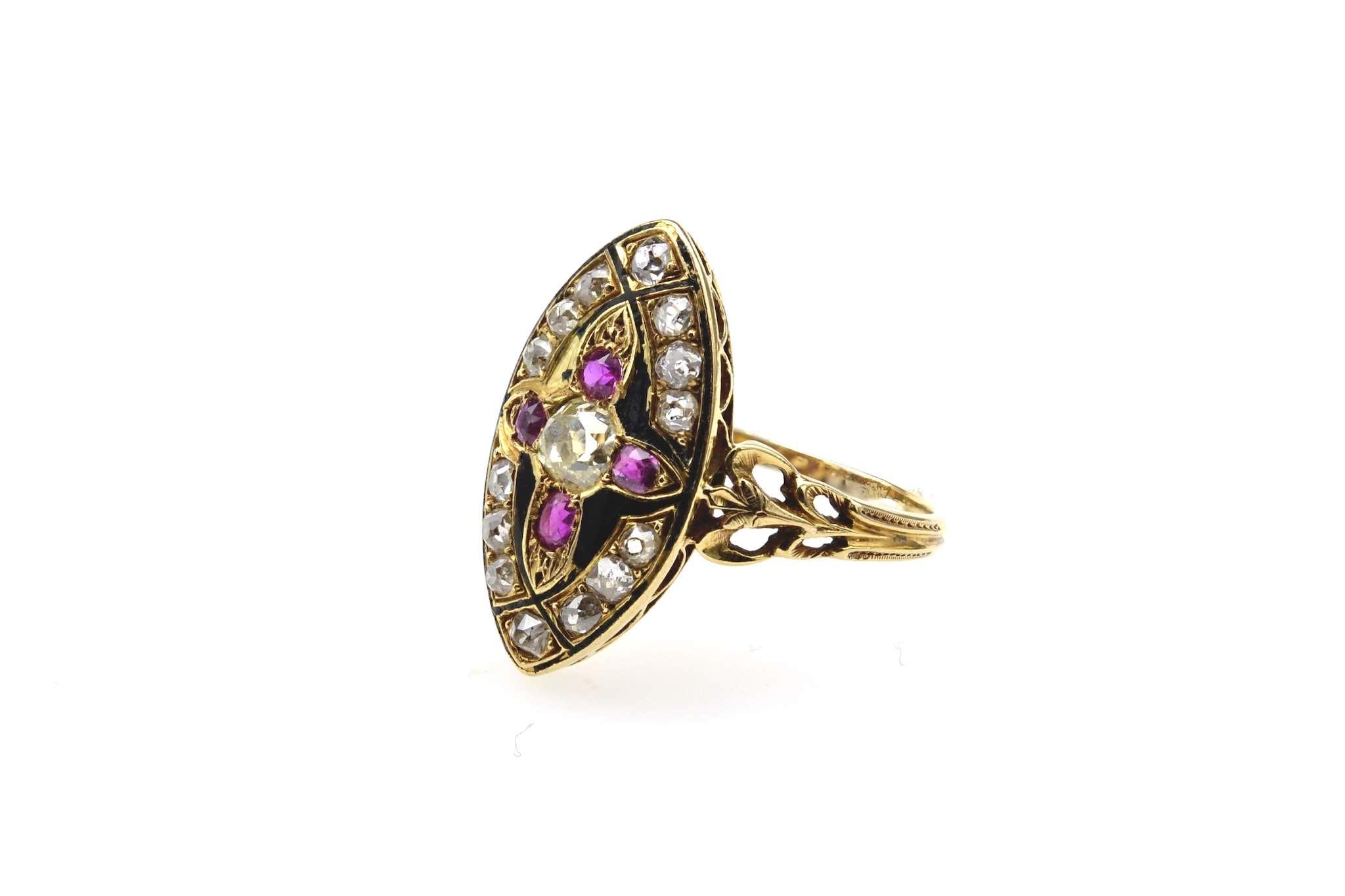 Bague ancienne 19e siècle diamants et rubis