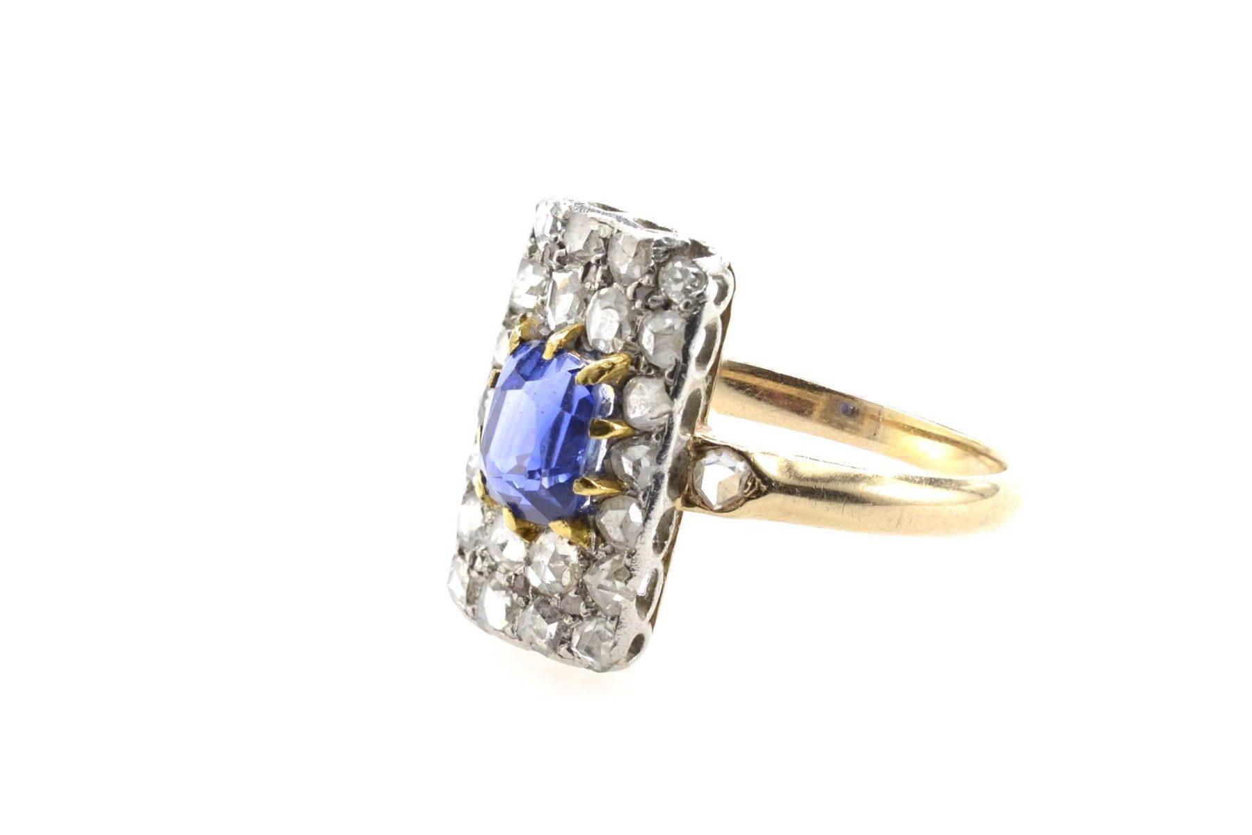 Bague saphir diamants 1900