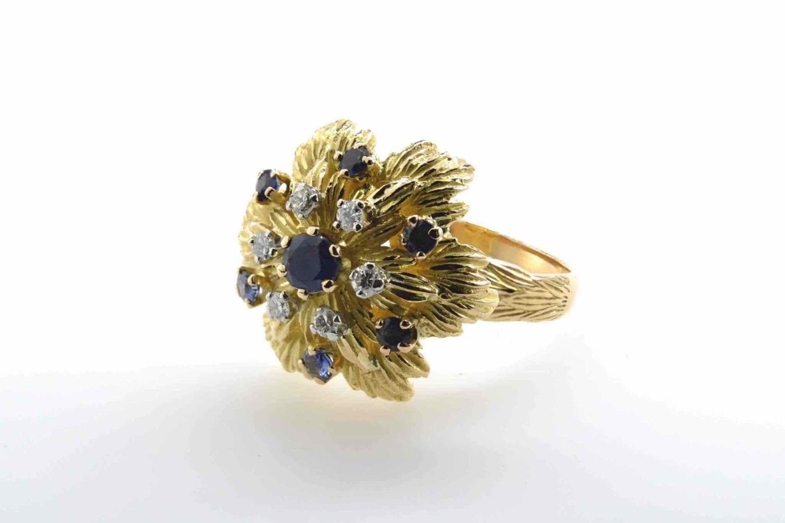 Bague 1960 saphirs et diamants en or jaune 18k