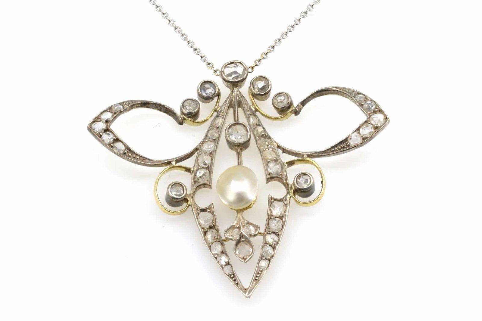 Collier ancien perle et diamants