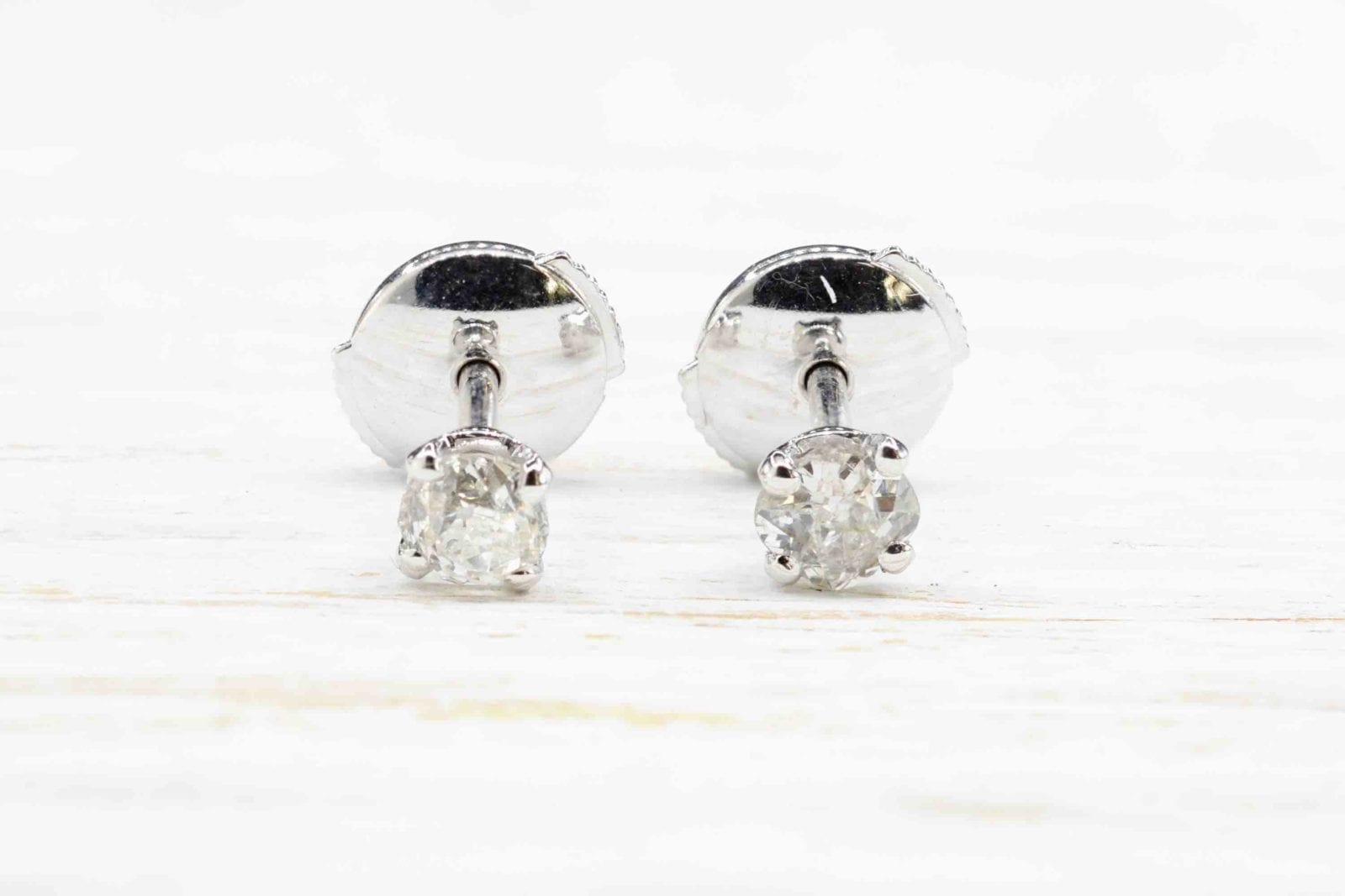 Boucles d'oreilles diamant en or blanc 18k