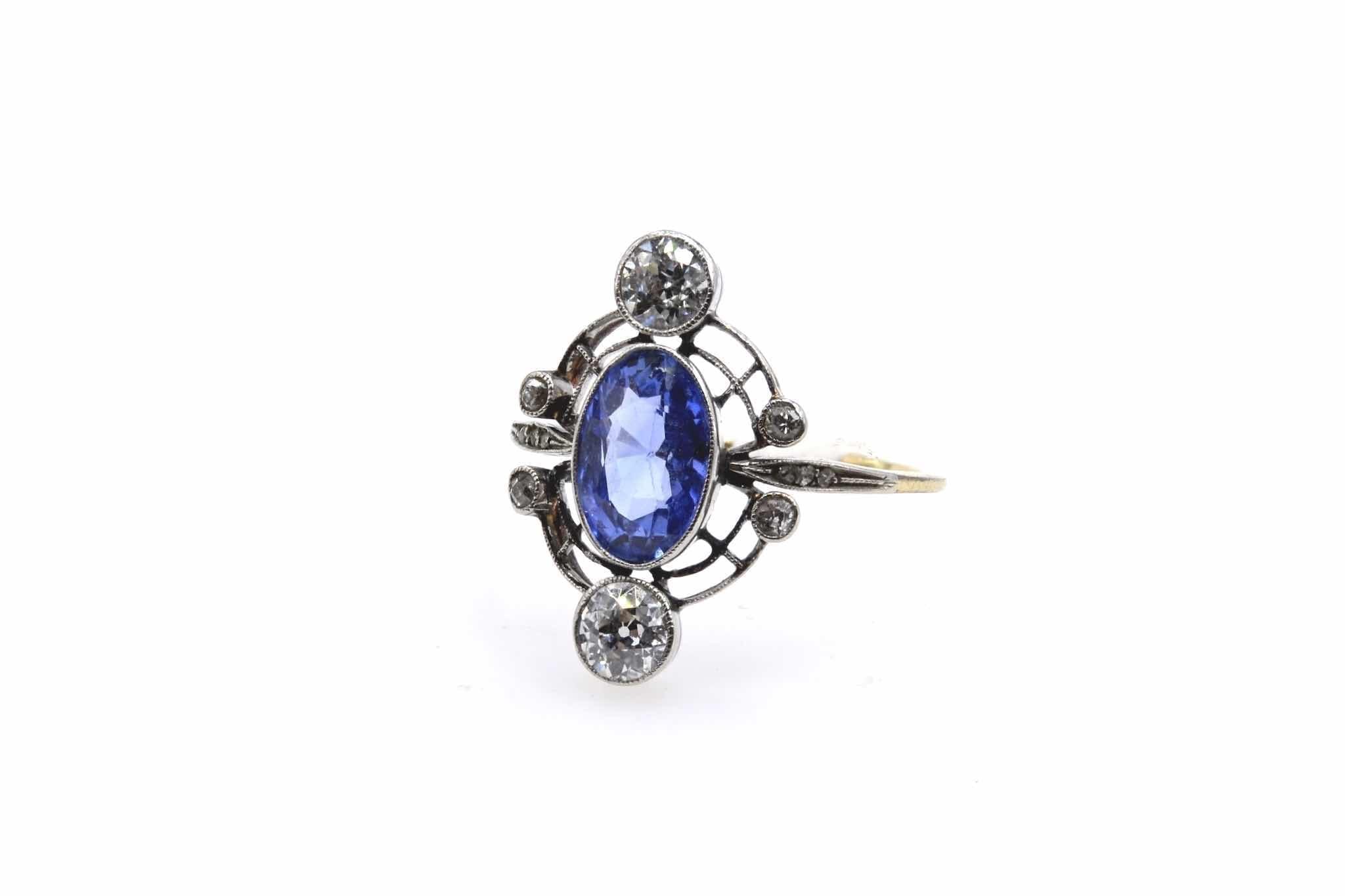bague saphir et diamants 1920