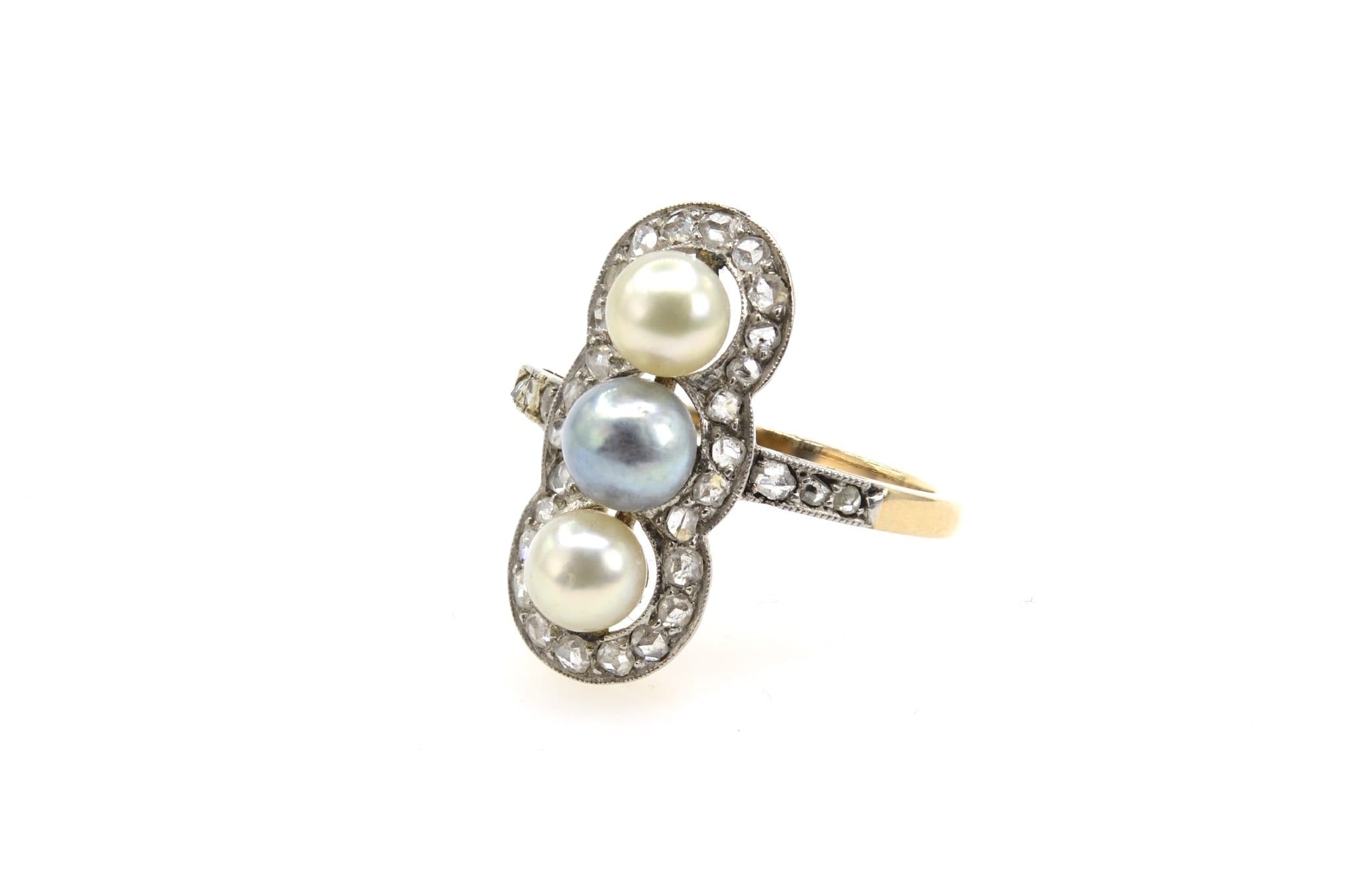 Bague 1900 perles et diamants en or jaune 18k et platine