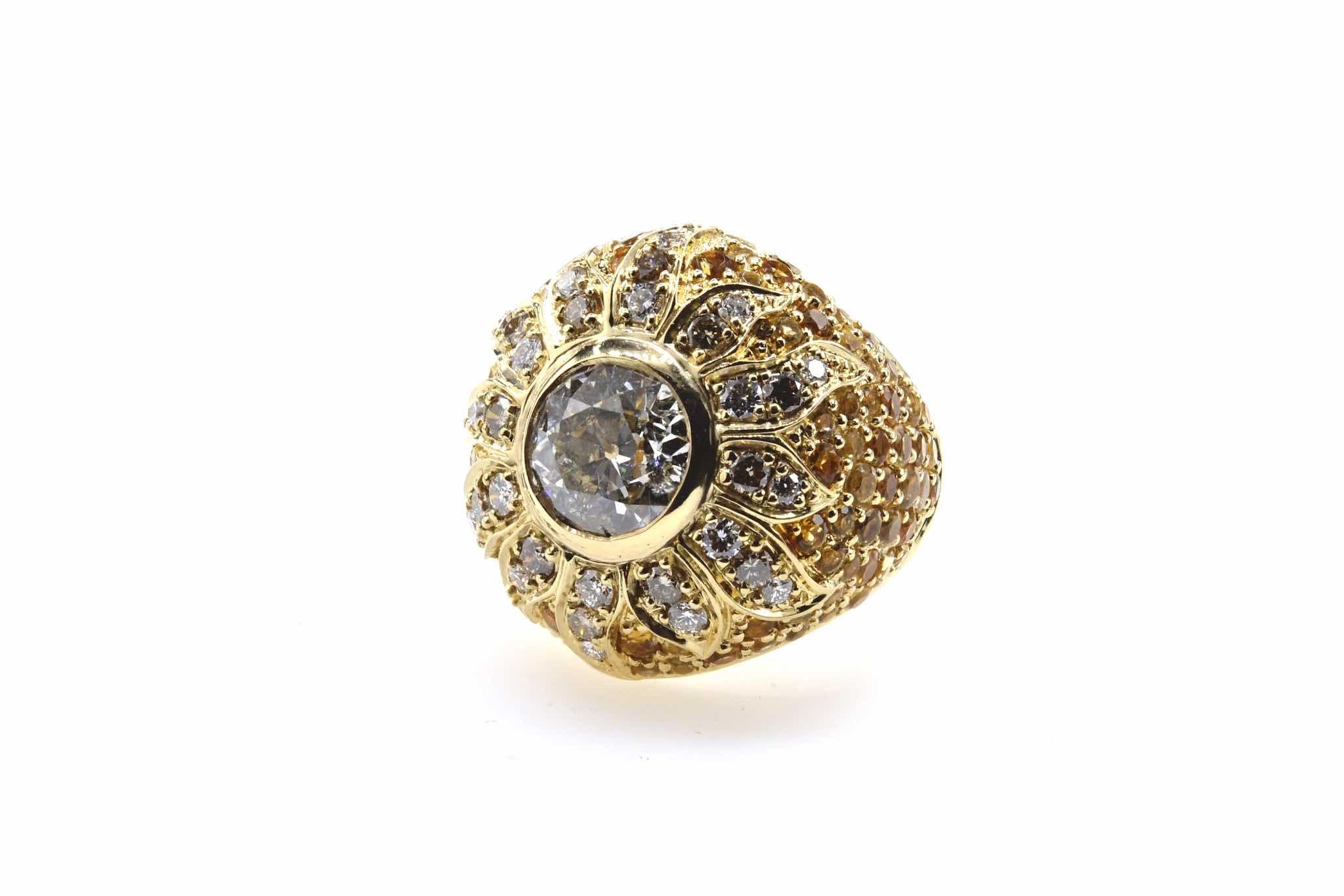 bague dôme diamant en or