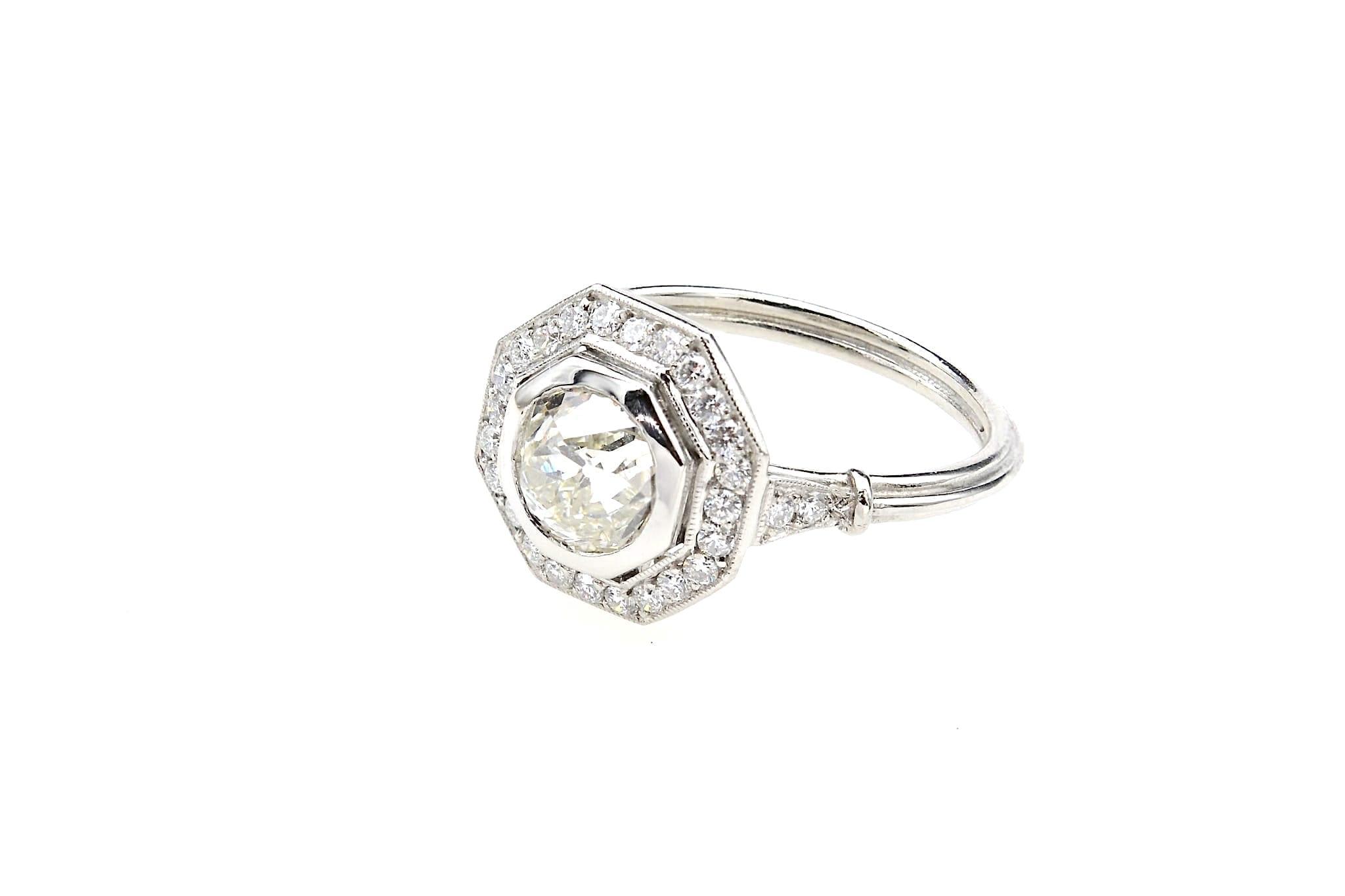 Bague octogonale diamant en platine