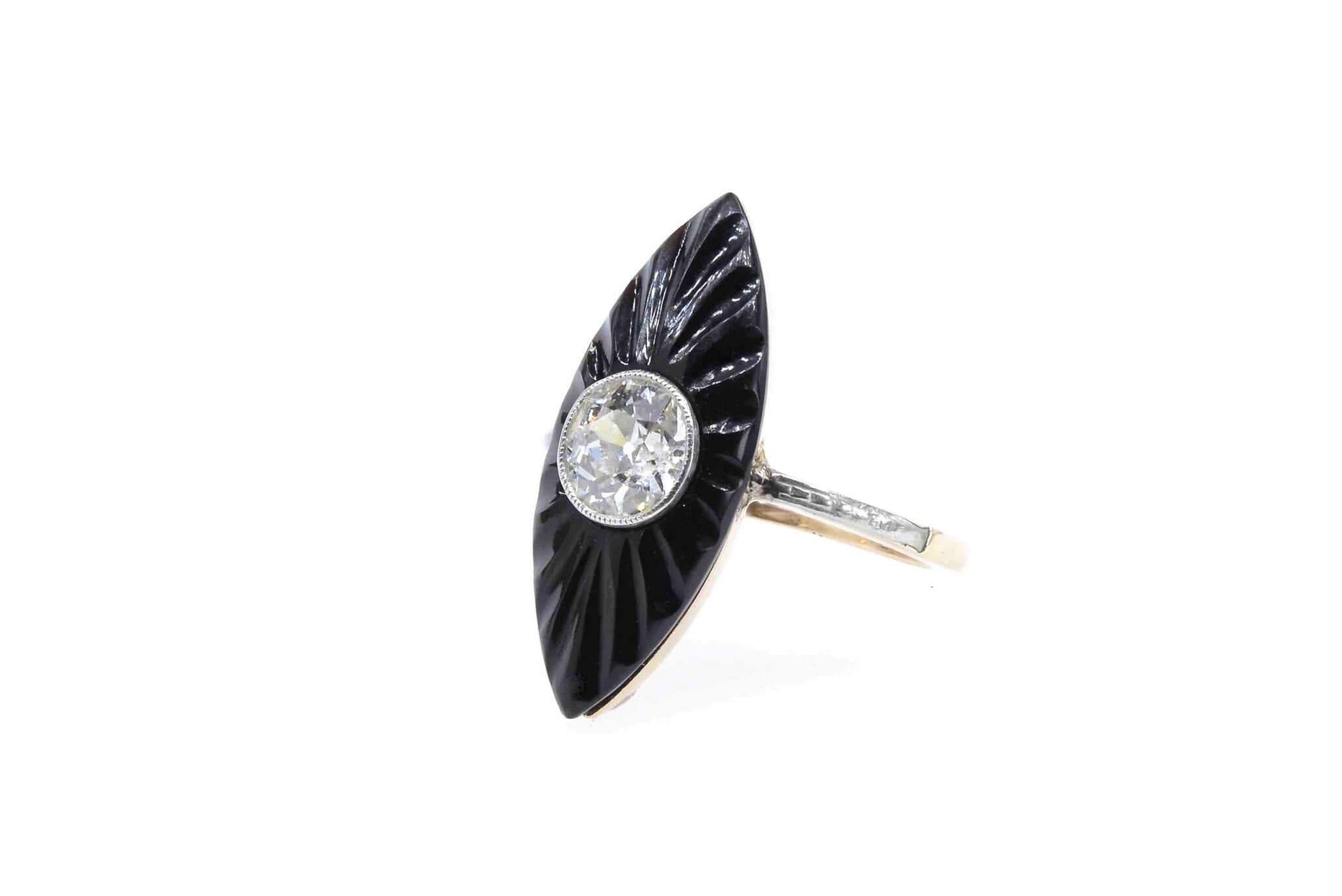 bague ancienne onyx diamant
