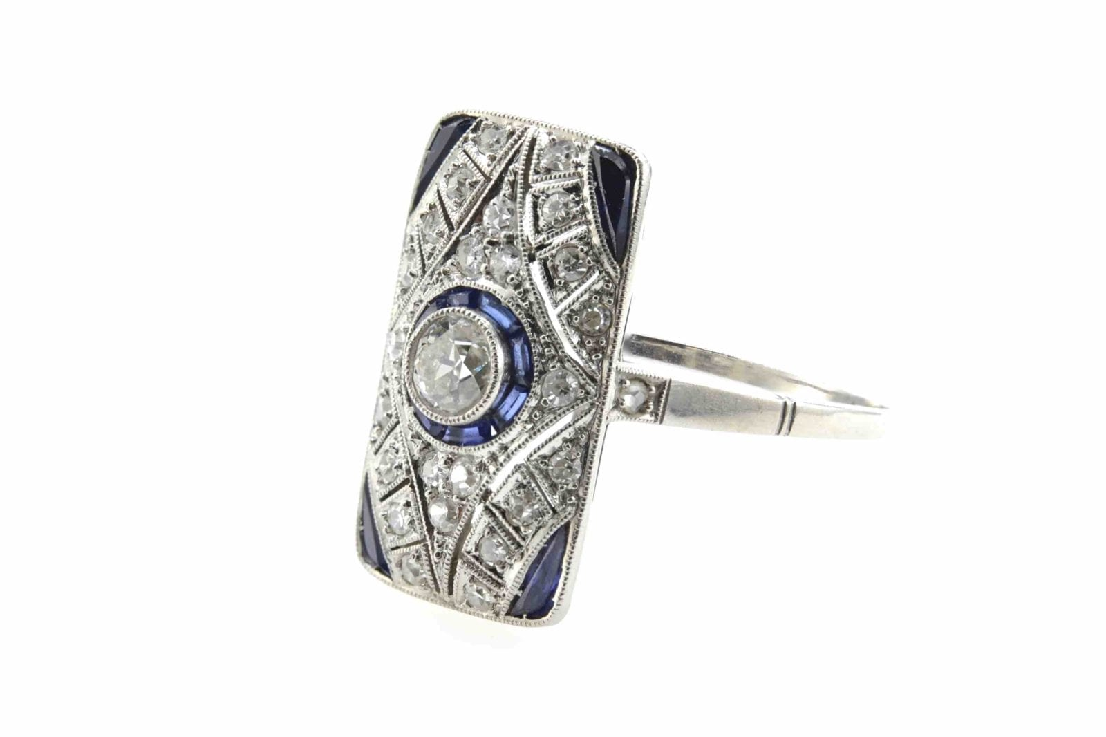 Bague Art Déco diamants et saphirs
