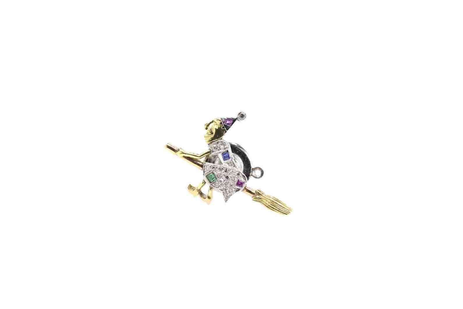 or jaune et blanc 18 k saphir, rubis et diamants
