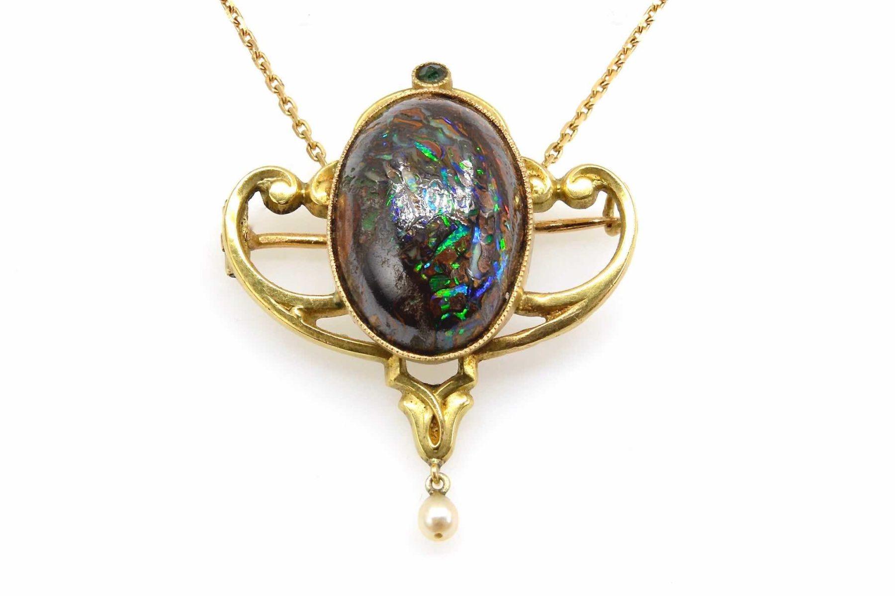 Pendentif et broche Art Nouveau opale