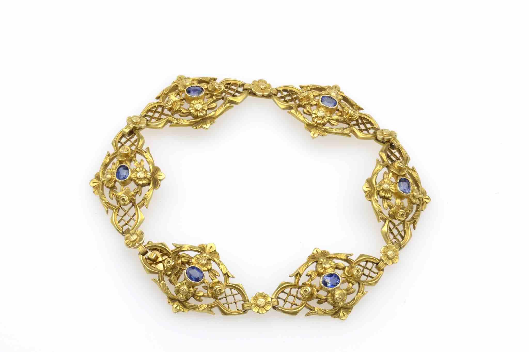 bracelet art déco en or 18k