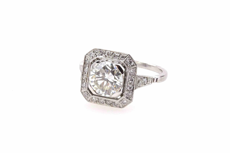 Bague Art déco diamant de 1,52cts J VVS 2
