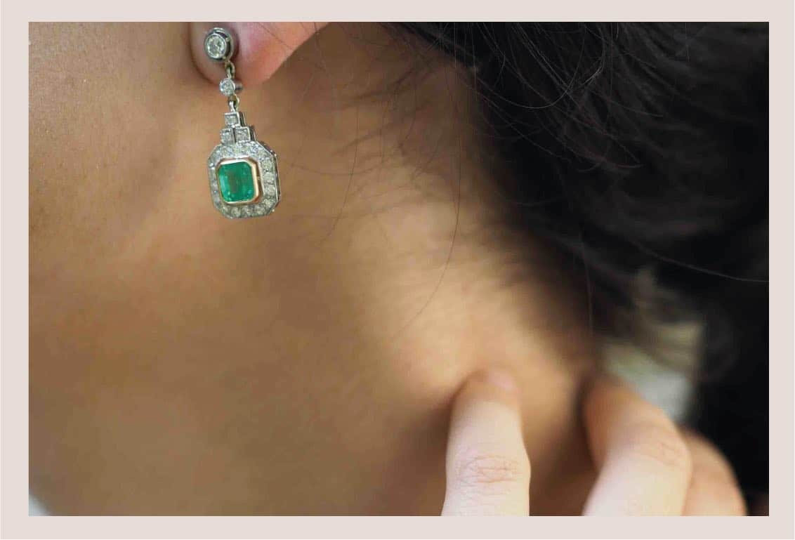 boucle d'oreilles diamants émeraude