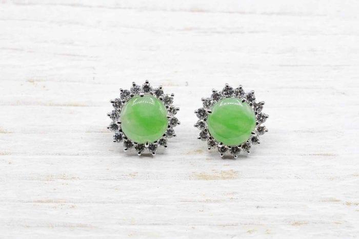Boucles d'oreilles jade et diamants en or blanc 18k