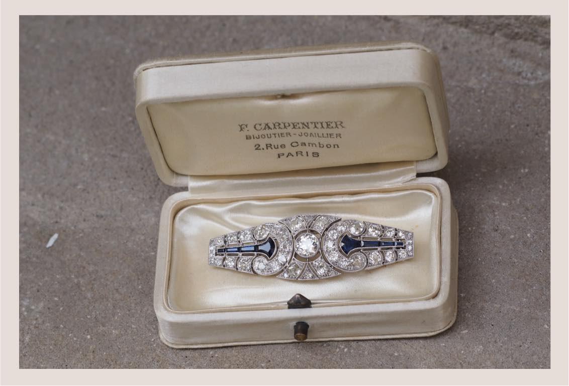 broche ancienne saphirs diamants