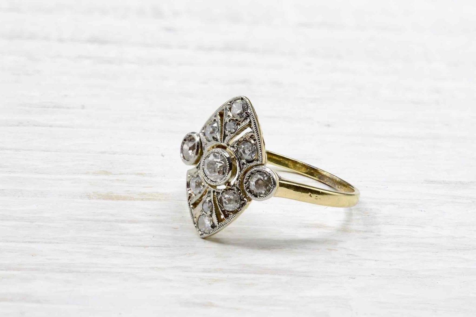 bague vintage diamants or jaune 18k
