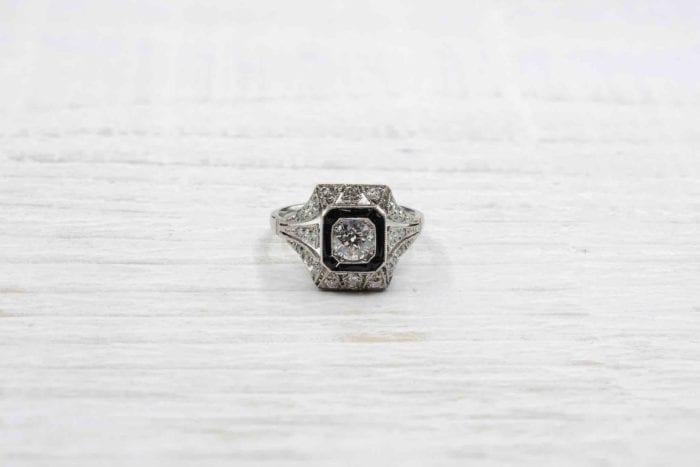 bague onyx diamantys vintage