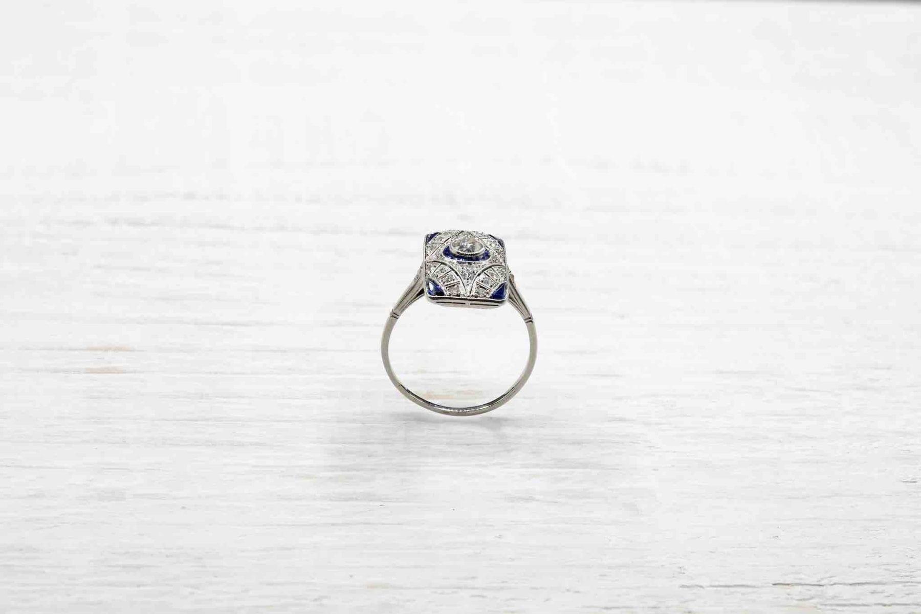 Bague Art Déco diamants saphirs