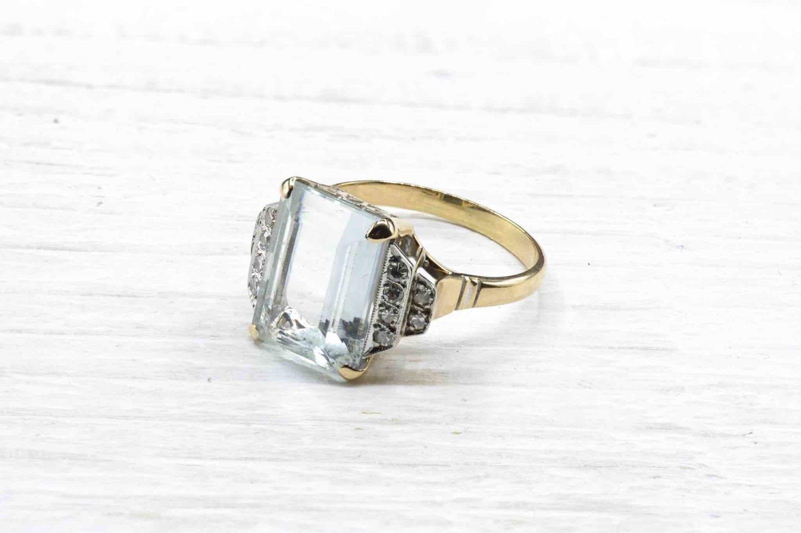 bague aigue-marine diamants