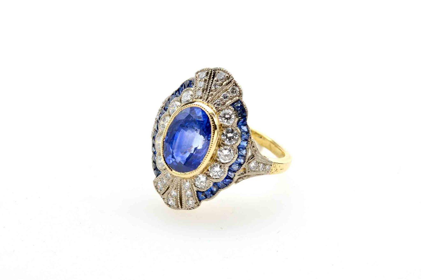 Bague saphir diamants Art Deco
