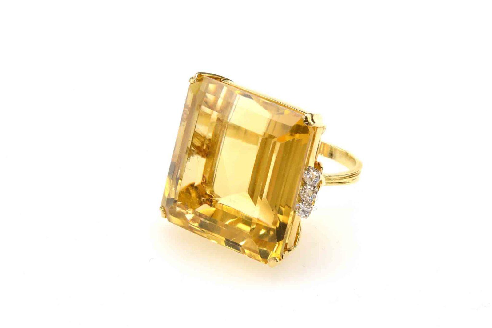 Bague citrine diamants