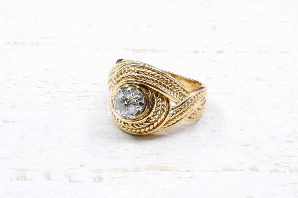 bague ancienne or jaune 18k et diamant