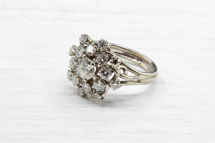 Bague diamants 1960 en or blanc 18k