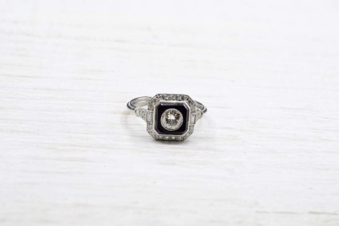 Bague vintage diamants et onyx
