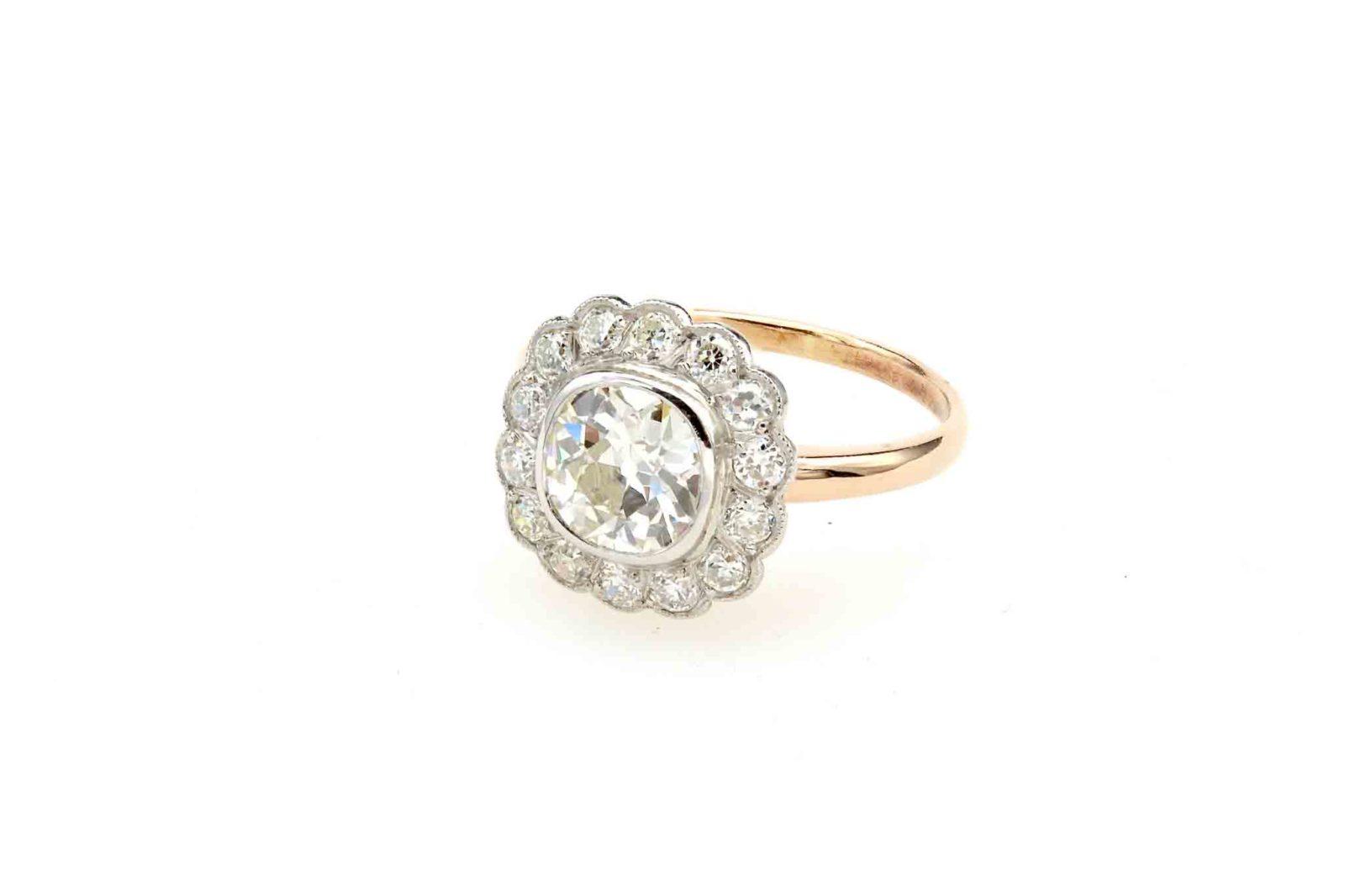 Bague pompadour diamants