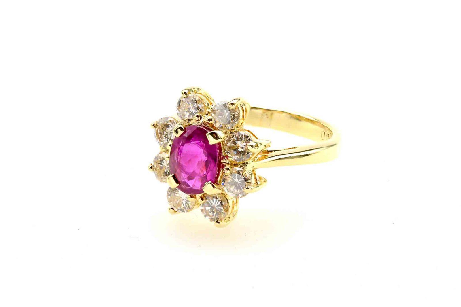 Bague marguerite rubis diamants
