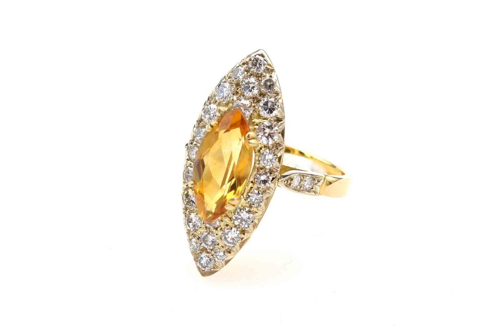 Bague marquise citrine diamants