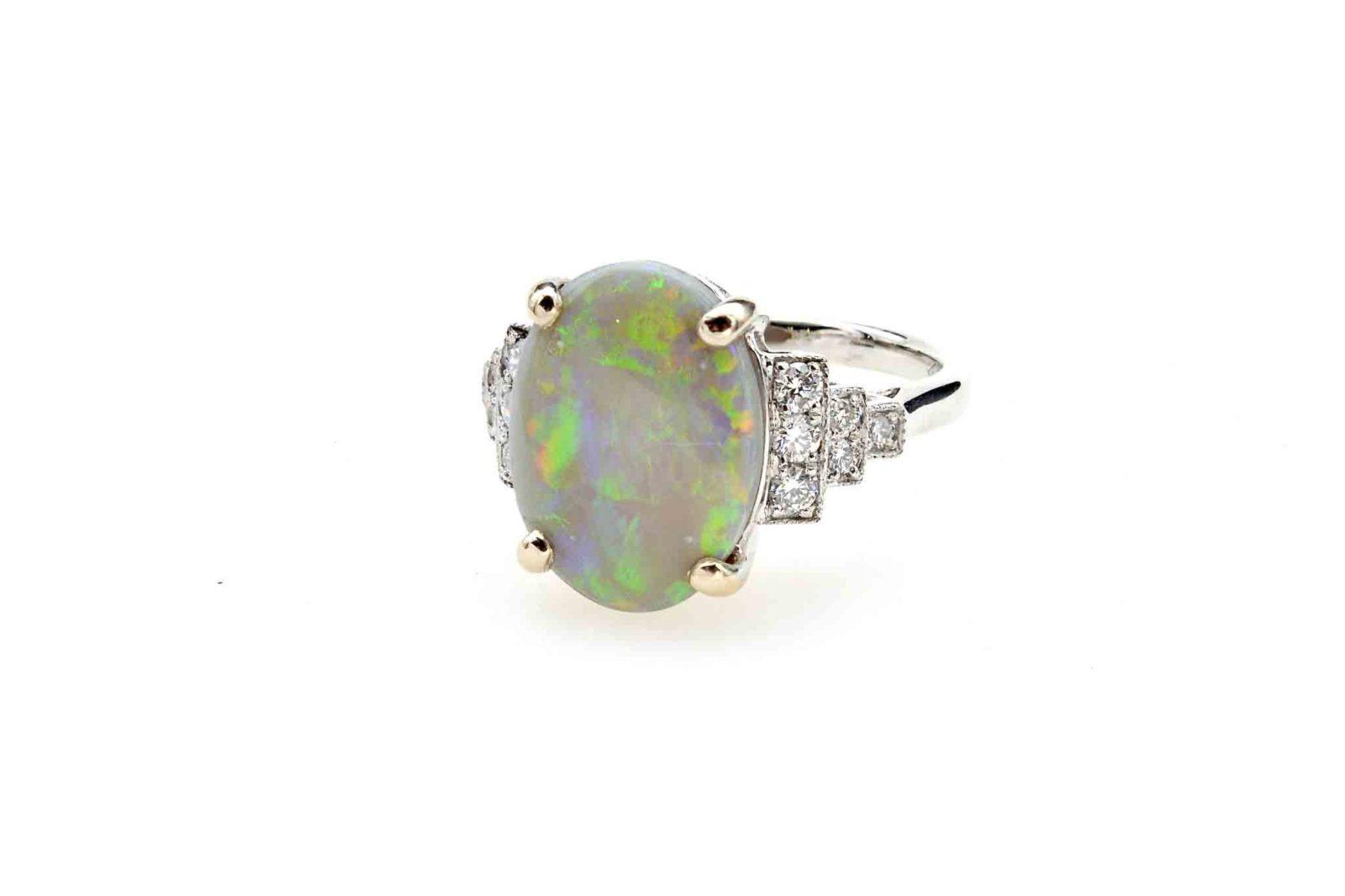 Opale diamants en or blanc 18k