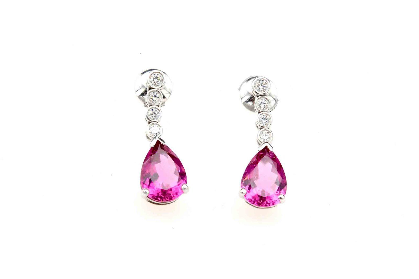 Boucles d'oreilles tourmalines diamants