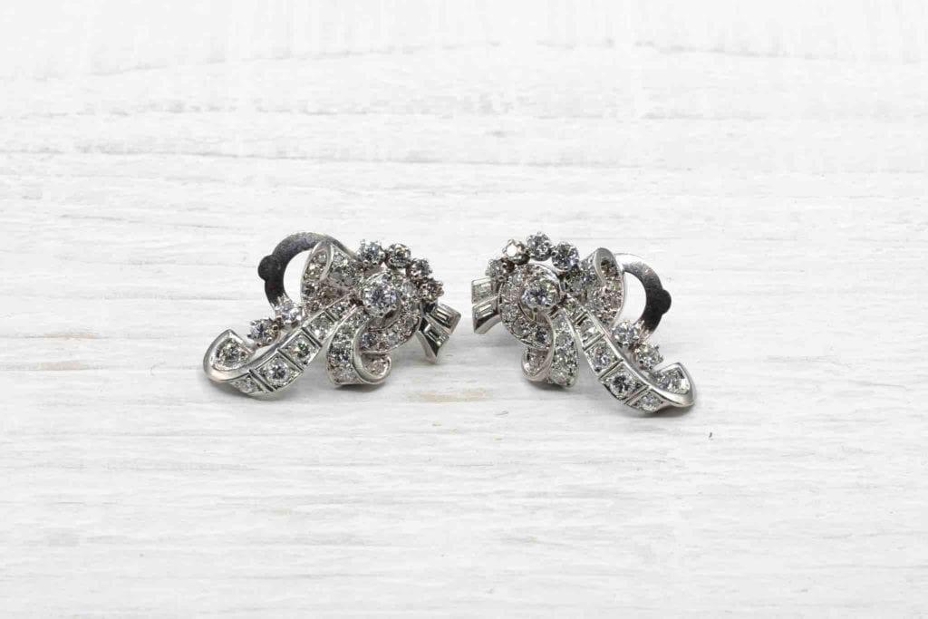 Boucles d'oreilles vintage diamants