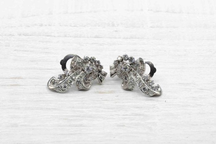 Boucles d'oreilles 1950 diamants en or blanc 18k
