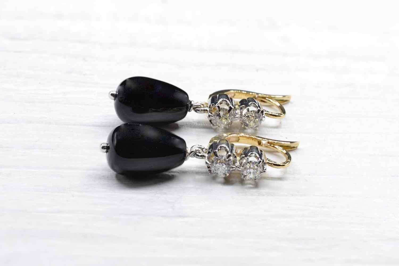 boucles d'oreilles vintage onyx diamants