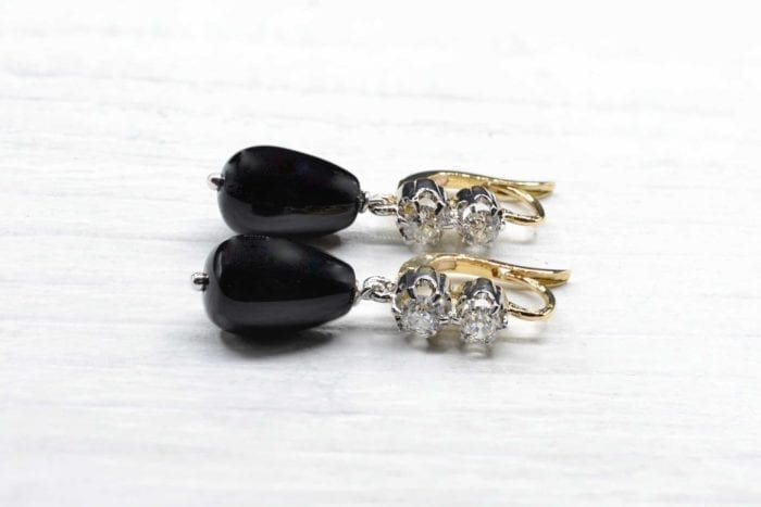 Boucles d'oreilles onyx et diamants en or 18k