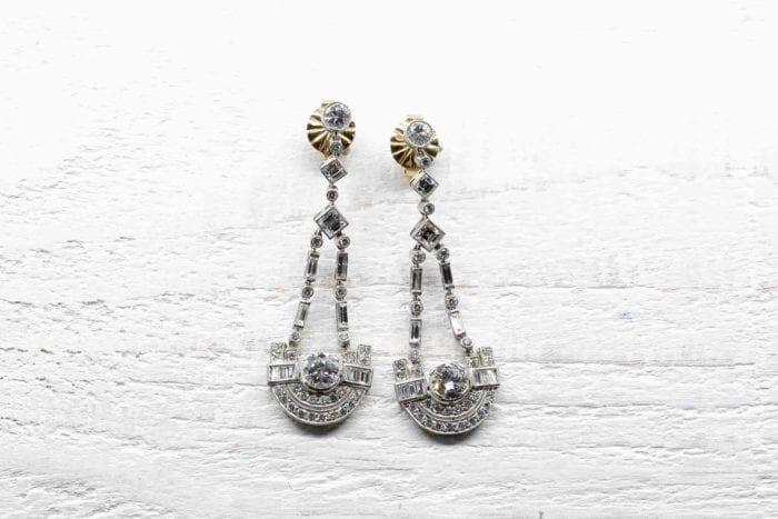 Boucles d'oreilles Art Déco diamants en platine