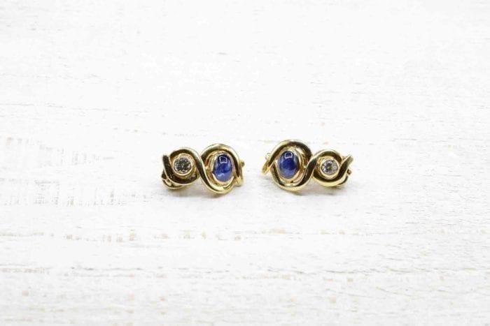 Boucles d'oreilles clips saphirs et diamants