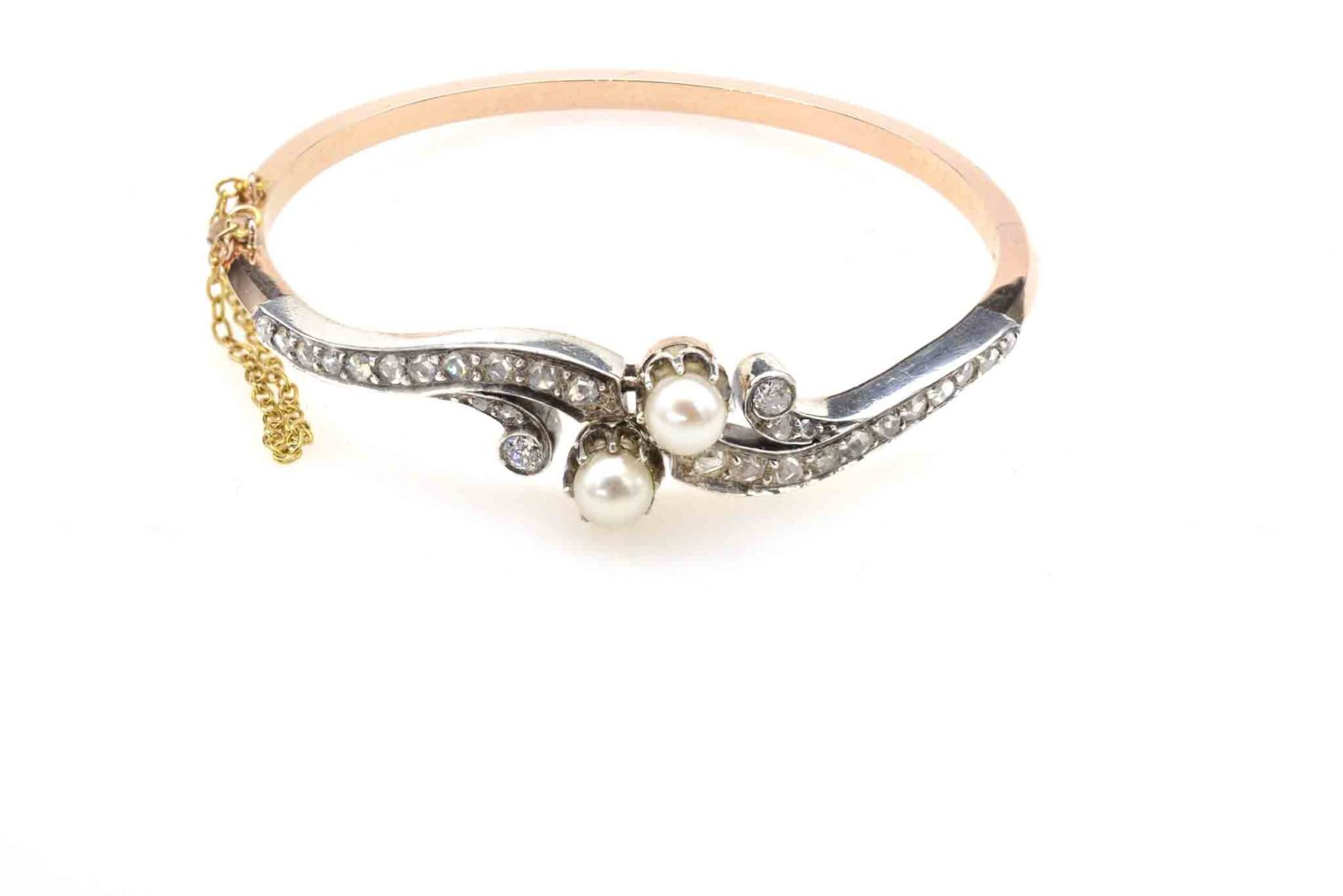 Bracelet ancien diamants perles