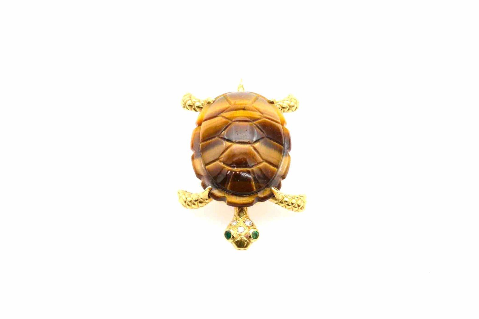 Broche tortue oeil de tigre