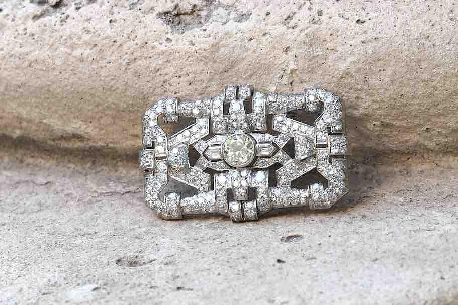 broche vintage art déco diamants