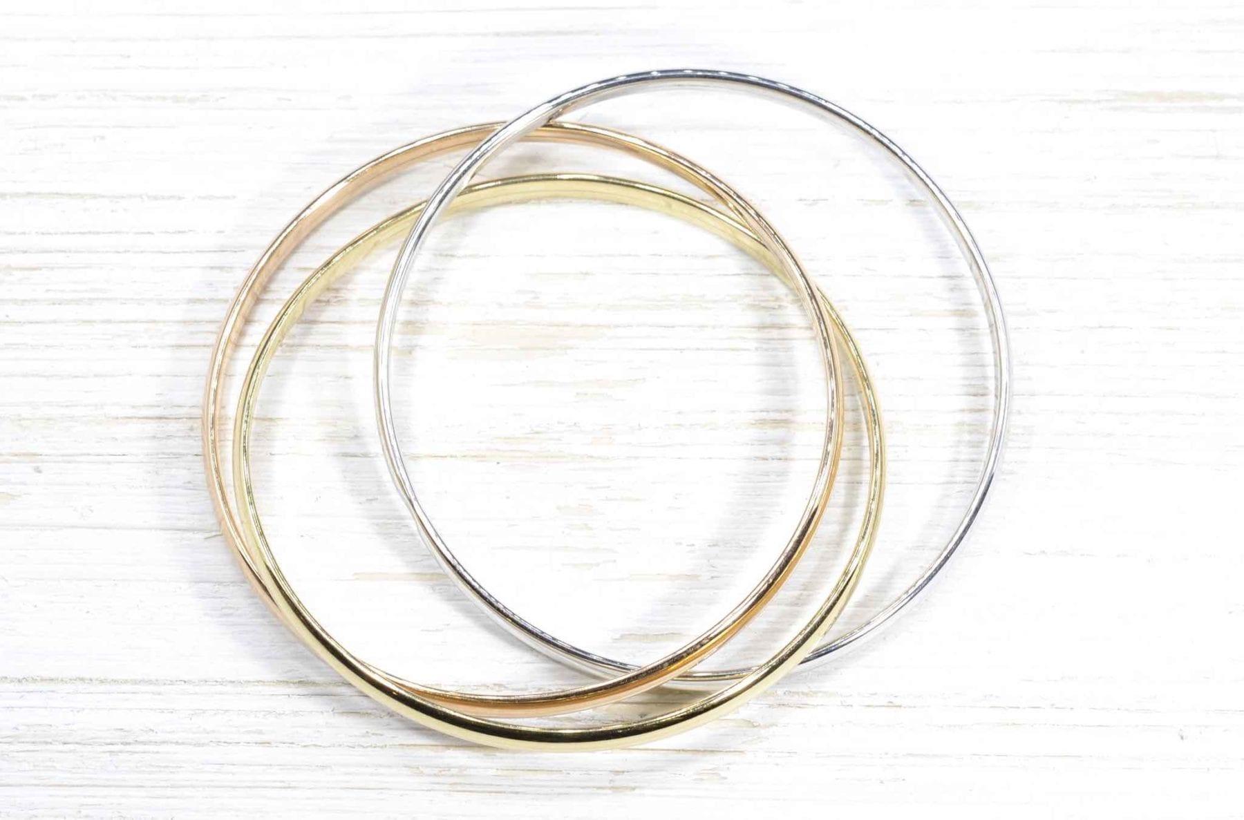 Bracelet trilogie or blanc, rose et jaune 18k