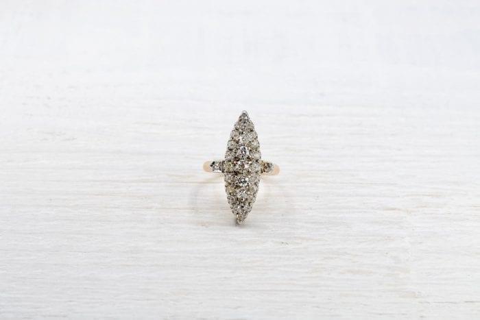 bague marquise diamants or jaune et argent
