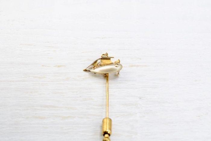 Épingle à cravate nacre en or jaune 18k