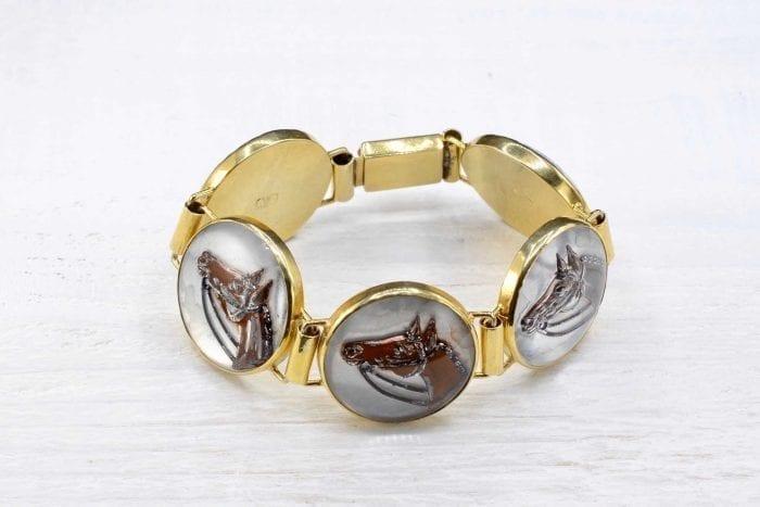 Bracelet chevaux en argent émaillé