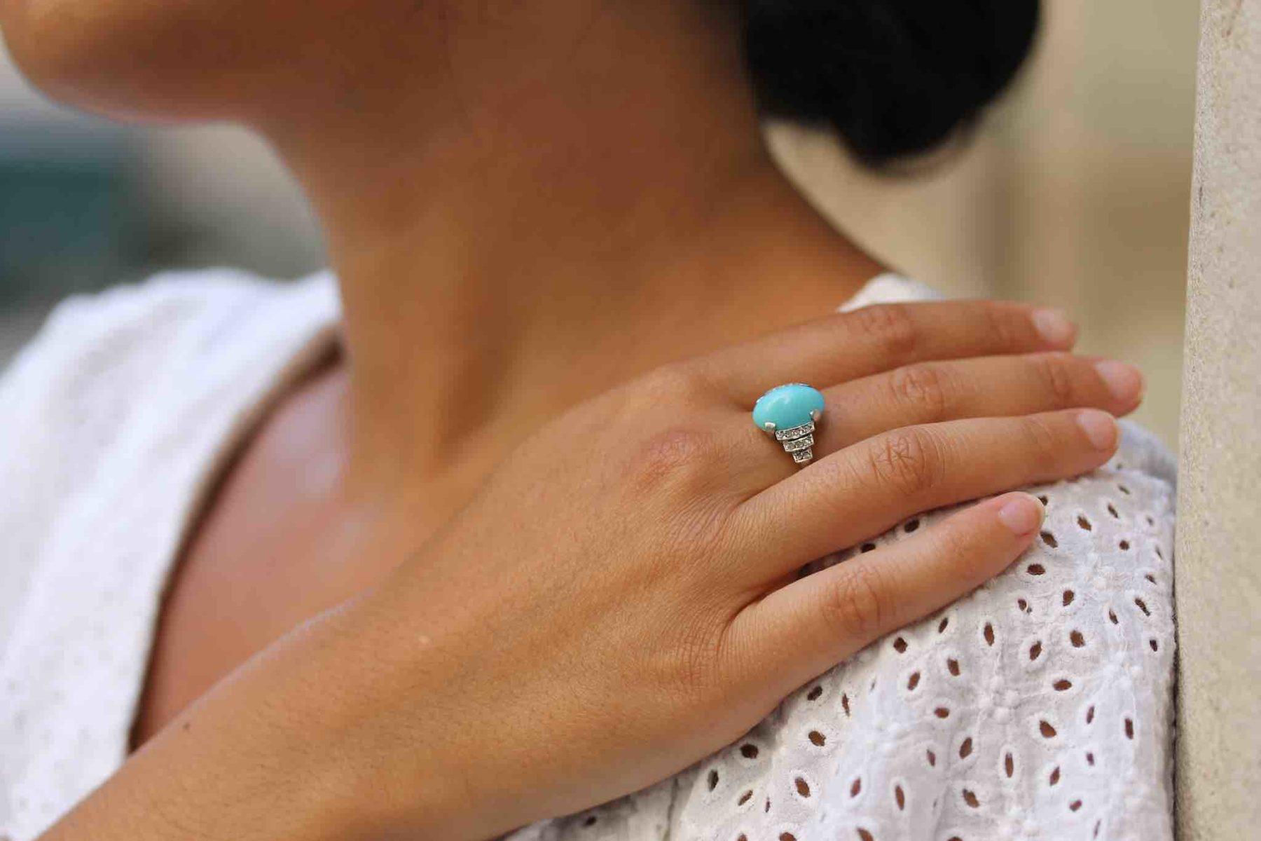 Bague diamants et turquoise Art-Déco