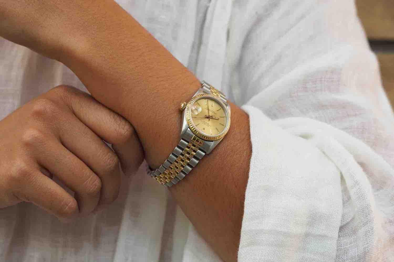 montre femme occasion or jaune et blanc 18K